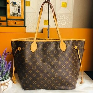 ❣️NEW COWHIDE💖AUTH LOUIS VUITTON NEVERFULL MM BAG